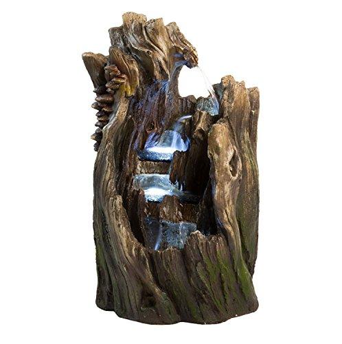 "22"" Walnut Log Indoor/outdoor Garden Fountain: Tiered Outdoor Water Feature For Gardens & Patios. Original Hand-crafted"