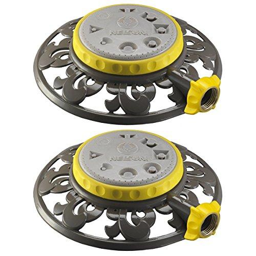2 Nelson Stationary 8-pattern Lawn Sprinklers Adjustable Spray Head Metal Base
