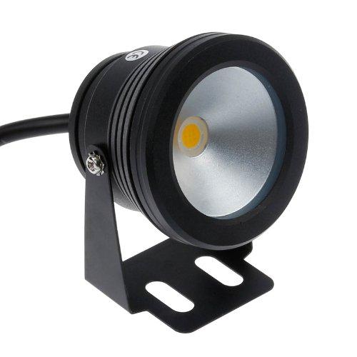 Lemonbest10w 12v Black LED Underwater Flood Light for Landscape Fountain Pond Pool Warm White