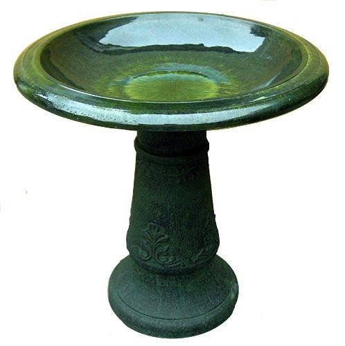 Exaco Trading Fm-0203g Endura Clay Florentine Marbleized Birdbath Green discontinued By Manufacturer