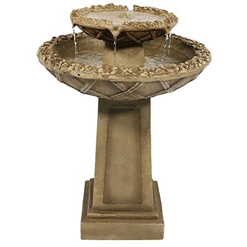 Sunnydaze Beveled Flower 2-tier Birdbath Water Fountain 28 Inch Tall