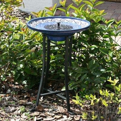 Smart Solar 20747r01 Mosaic Style Birdbath With Metal Standamp Ceramic Glazed Finish