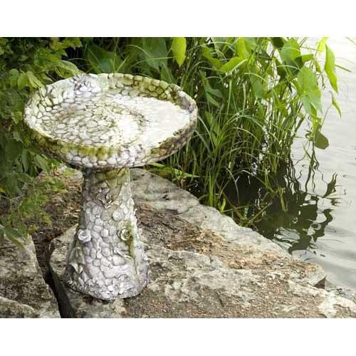 Orlandistatuary Fs7808 Stone And Flower Birdbath Sculpture 22&quot White Moss Finish