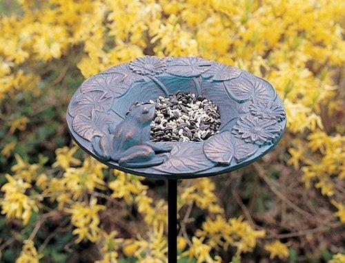 Whitehall Products Frog Garden Bird Feeder Copper Verdi