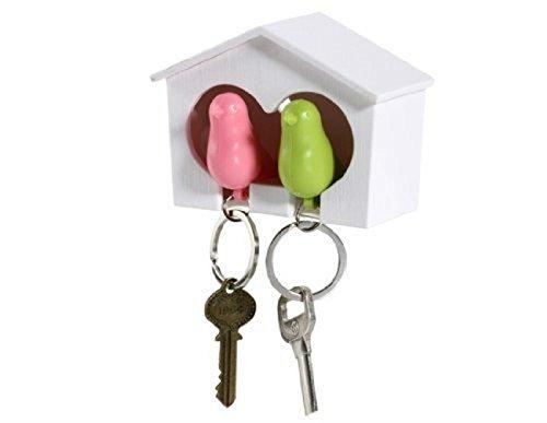 AKOAK Couple Pair Sparrow Bird House Nest Whistle Key HolderOne Bird Green and One Bird Pink