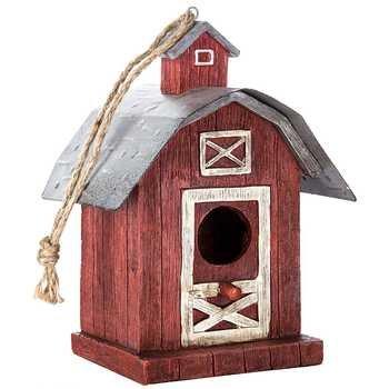 Redamp White Barn Birdhouse
