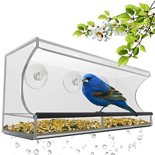 Large Window Bird Feeder - Clear Removable Tray Drain Holesamp Beautiful Packaging Enjoy Wild Birds Up Close