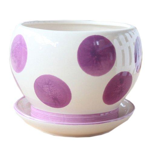 Creative Decor Lovely Garden Soccer Earthenware Planter Flower Pot 43 Purple