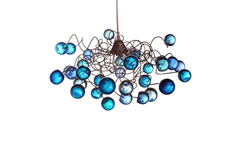 Blue Lamp Shades - Bule marble Pendant lighting - Ceiling Lights for Childrens Room - Boys Room Lighting