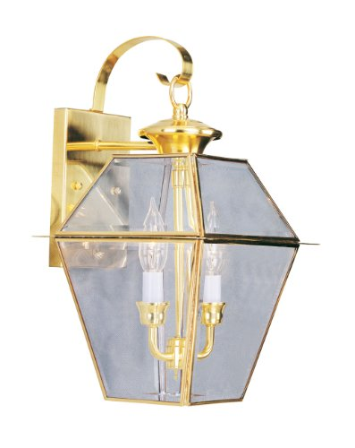 Livex Lighting 2281-02 Outdoor Wall Lantern With Clear Beveled Glass Shades Polished Brass