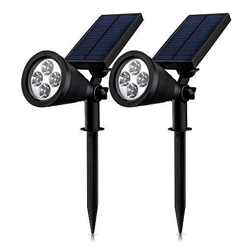 Erlvery DaMain Solar Lights 2-in-1 Waterproof 4 LED Spotlight Outdoor Landscape Lighting Adjustable Wall Light Dark Sensing Auto OnOff(2 Pack)