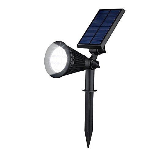 Erlvery DaMain Solar Lights Waterproof 4 LED Spotlight Outdoor Landscape Lighting Solar Power Adjustable Wall Light White light(1 Pack)