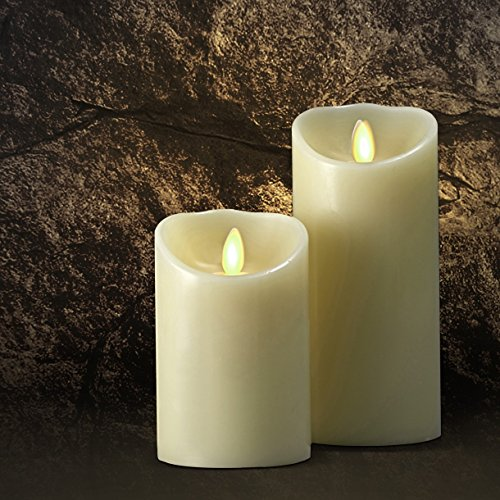 "Saint Mossi Dia3.5"" X 5"" Led Flameless Scented Real Paraffin Wax Subtle Vanilla Scent Pillar Candle With Remote"