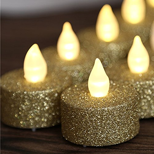 Loguide 12pcs Led Flameless Gold Glitter Votive Tealight Candle Powered By Battery Lighting For Wedding Christmas