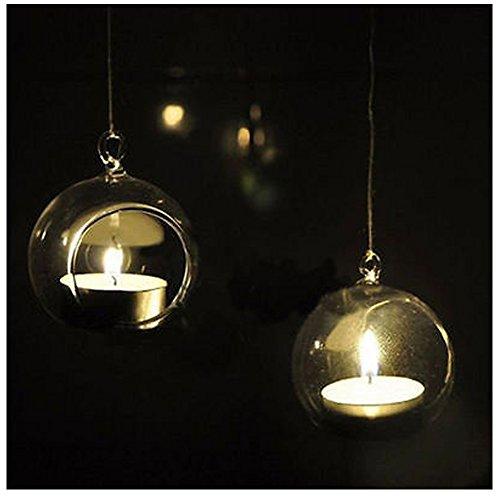 Faithtur Romantic Crystal Glass Wedding Decor Hanging Candlestick Holder Plant Plant Terrarium Vases