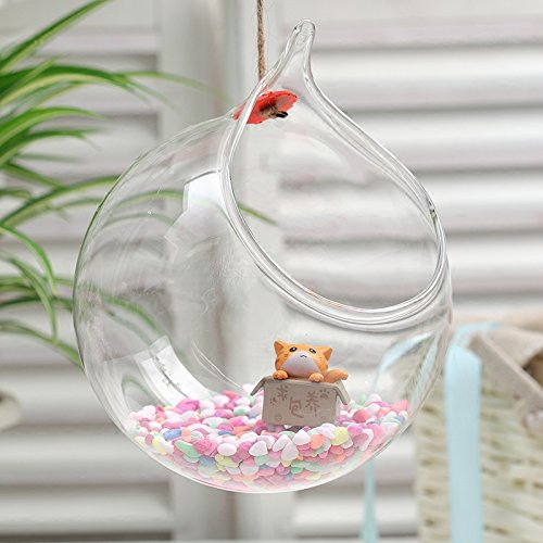Pack of 2 Clear Glass Globe  Hanging Air Plant Terrarium Planter Tea light Candle Holder