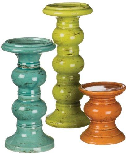 Sullivans Candleholder Set of 3 Green Blue and Orange