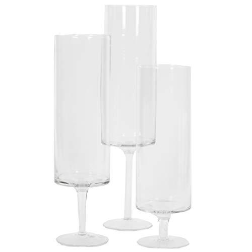 Koyal Wholesale Pillar Candle Hurricane Pedestal Holders Tall Glass Pedestal Candle Holders Centerpiece Wedding Glass Stem Hurricanes Set of 3 Clear 37 x 118 137 157