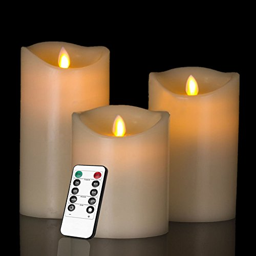 Heiokey&reg Electronic Led Candle Set Of 3 4&quot 5&quot 6&quot Real Wax Moving Wickess Led Flameless Candles Pillar Lights