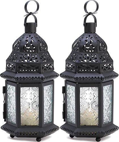 2 Pcs Candle Lantern Black Metal Holder Moroccan Glass Hanging Wedding Lanterns