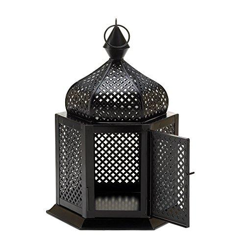 Tabletop Lantern Moroccan Hanging Candle Holder Iron Black Ornament Guard Display Home Lighting Decor