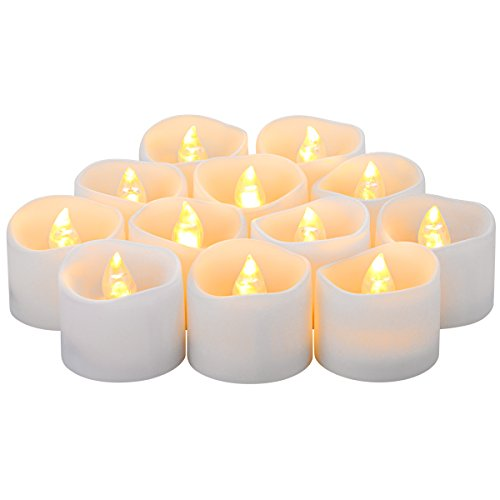 Oria Flameless Candles Christmas Realistic and Bright Flickering Bulb Battery Operated Fake LED Tea Light for Christmas Festival Celebration 12 PCS Warm White