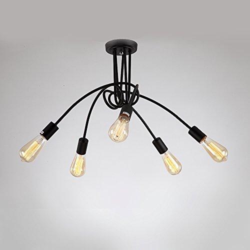 NATSEN Vintage Chandelier Black Light Fixture Antique Pendant Lighting Metal Hanging Light 5-Light for Dining Room Living Room Bedroom