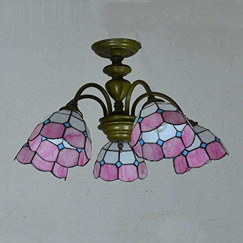 Tiffany Living Room Meeting Room Chandeliers Mediterranean Style 5 Heads Restaurant Pendant Lights Bedroom Ceiling LampsPink