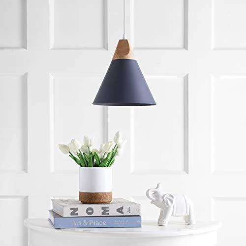 Lighting Adjustable 1-Light Led Grey Pendant Brown Mid-Century Modern Contemporary Scandinavian Metal Bulbs Included Energy Efficient