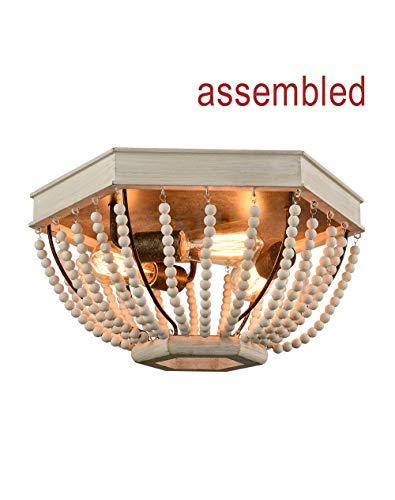 CLAXY Distressed Off-White Ceiling Light Rustic Wood Bead 3 Light Pentagon Flush Mount Light Fixture