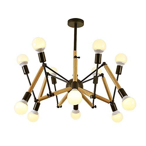 Multi-head Adjustable Chandeliers Modern BlackWhite Iron Wood Spider-shaped Lighting Decorative Ceiling Lamps E27 68101216 Lights Pendant Light Color  Black Size  10heads