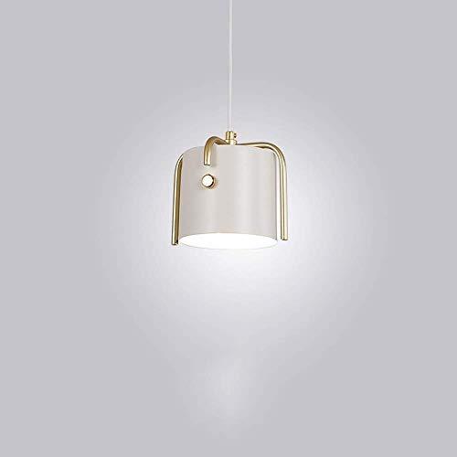Q-xhc Chandelier Simple Wrought Iron Chandelier Retro Industrial Theme Pendant Light Decorative Ceiling Light Single-Head Hanging Lamp Color  White