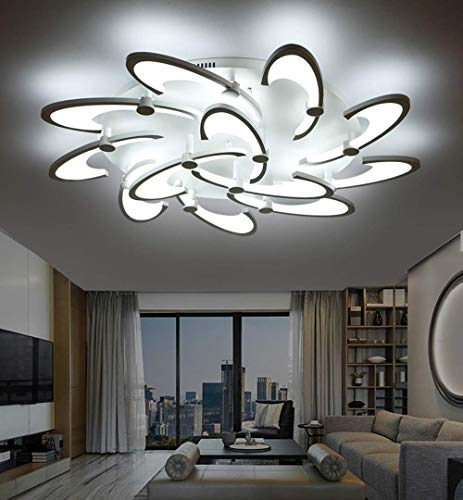 LAKIQ Multi Light Modern LED Ceiling Chandelier Windmill Shape Acrylic Semi Flush Mount Lighting Fixture Indoor Ceiling Lights for Living Room Bedroom White Light 12 Lights