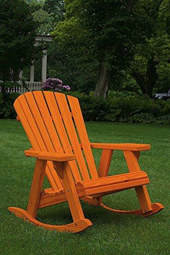 Pressure Treated Pine Fan Back Adirondack Rocker Amish Made USA- True Cedar Stain