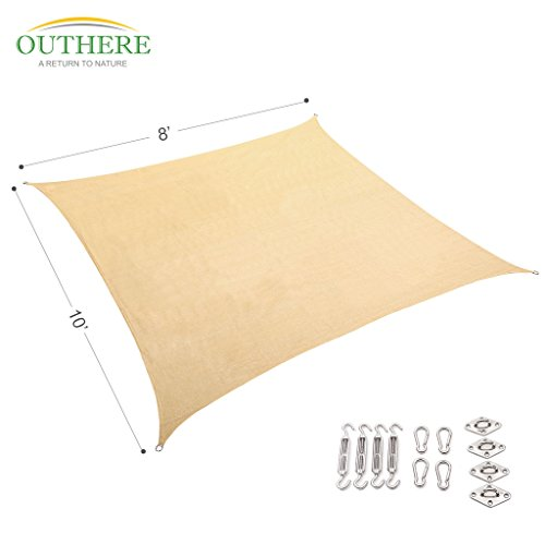 Outhere 8X10 Sun Shade Sail Rectangle Canopy with Stainless Steel Hardware Kit - Durable Outdoor UV Shelter for Patio Lawn - Golden Sand Color