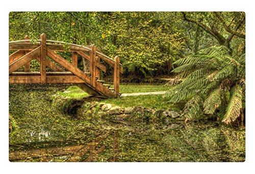 Irocket Indoor Floor Rugmat - Lovely Wooden Bridge On A Garden Pond 236 X 157 Inches
