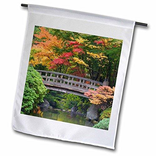 3drose Fl_93668_1 Oregon Portland Wooden Bridge Japanese Garden-us38 Bja0650-jaynes Gallery Garden Flag 12