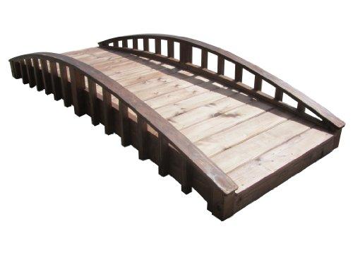 Samsgazebos Crescent Japanese Style Wood Garden Bridge 8-feet Brown