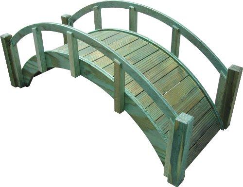 Samsgazebos Miniature Japanese Treated Wood Garden Bridge 29-inch Green