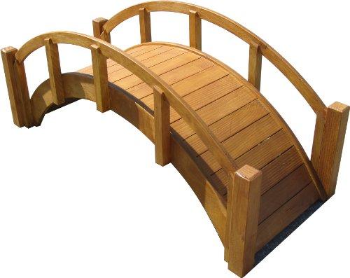 Samsgazebos Miniature Japanese Waterproof Wood Garden Bridge 29-inch Tan