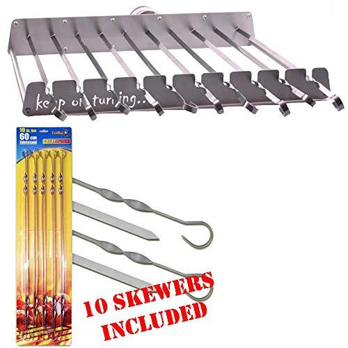 Keep on Turning 10 Skewer Kebab Shish Kabob Automatic Rotating Rotisserie BBQ Grill Rack incl 10 Skewers