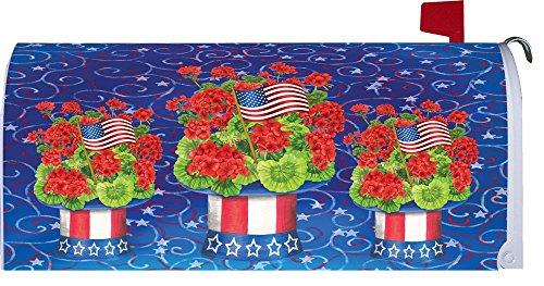 Patriotic Geranium  - Patriotic - Mailbox Makeover - Vinyl Magnetic Cover