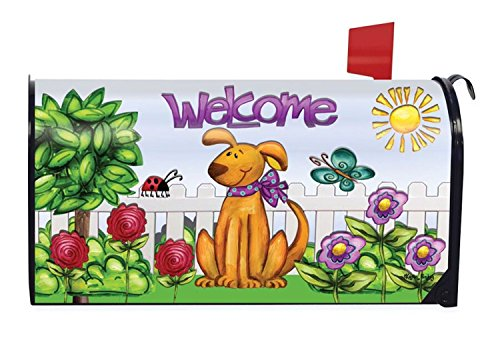 Dog Welcome Spring Magnetic Mailbox Cover Floral Puppy Briarwood Lane