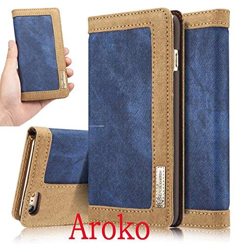 Aroko 6Splus case Retro Denim ONLY 55inch Iphone 6sPlus Case Luxury Wallet Flip Leather Case for Iphone 6splus case Retro Magnetic Cover 6plus6sPlus 55inch Blue