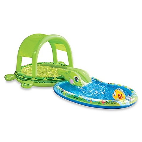 Banzai Junior Shade N Slide Turtle Splash Pool Multi l Summer Fun for your Little One
