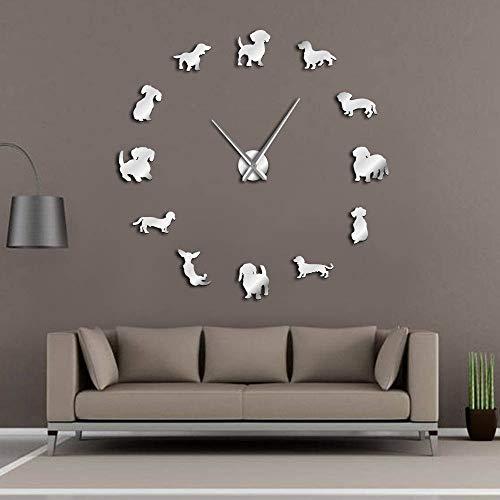 GUABOHHY Dachshund DIY Large Wall Clock Popular Dog Breed Sausage Dog Doxie Giant Modern Wall Watch Sausage Dog Wall Art Pet Shop Decor