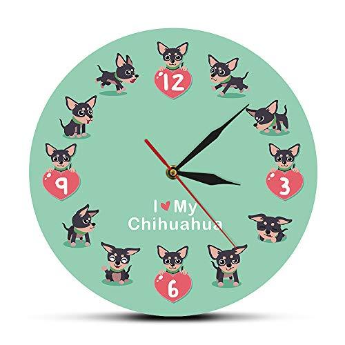 The Geeky Days Cute Chi-chi Chihuahua Cartoon Silent Wall Clock I Love My Chihuahua Unique Wall Art Modern Acrylic Wall Clock Decorative Wall Watch