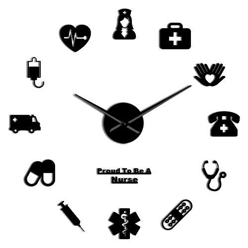 The Geeky Days Proud to Be A Nurse Doctor Nurse Kit DIY Large Wall Clock Medical Office Hospital Wall Art Decor Long Hands Clock Wall WatchBlack
