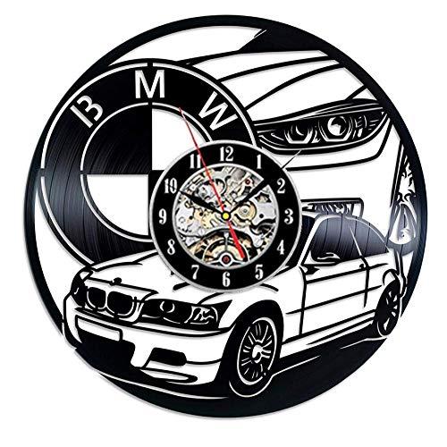 Wsxynda BMW Car Vinyl Record Wall Clock Modern Design for Car Shop BMW 3D Decoration Vintage Vinyl Clock Wall Watch Home Decor 300Mm