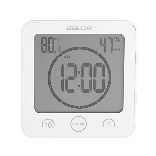 GLOGLOW Bathroom Clock Shower Timer Alarm Digital Clocks Bathroom Waterproof Timer Clocks with Suction CupThermometer Hygrometer for ShowerWhite